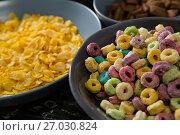 Купить «Bowl of froot loops and cornflakes», фото № 27030824, снято 13 июня 2017 г. (c) Wavebreak Media / Фотобанк Лори