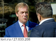 Nigel Farage, UKIP MEP and former party leader. being interviewed on College Green, Westminster as PM Theresa May makes an important speech about Brexit in Florence, 22nd Sept 2017. Редакционное фото, фотограф Phil Robinson / age Fotostock / Фотобанк Лори