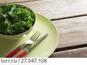Купить «Close-up of kale in bowl on plate over table», фото № 27047108, снято 12 июня 2017 г. (c) Wavebreak Media / Фотобанк Лори