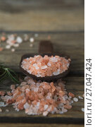 Купить «Himalayan salt and rosemary on wooden table», фото № 27047424, снято 5 июня 2017 г. (c) Wavebreak Media / Фотобанк Лори