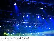 Купить «Stage lights. Soffits. Concert light», фото № 27047980, снято 29 сентября 2017 г. (c) Евгений Ткачёв / Фотобанк Лори
