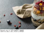 Купить «Yogurt with pomegranates and golden berries in glass jar», фото № 27051440, снято 13 июня 2017 г. (c) Wavebreak Media / Фотобанк Лори