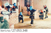 Купить «Teams on the paintball ground», фото № 27053348, снято 10 июля 2017 г. (c) Яков Филимонов / Фотобанк Лори