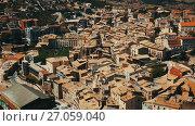 Купить «Top view of old Catalan town. Catalonia , Catalonia», видеоролик № 27059040, снято 22 августа 2017 г. (c) Яков Филимонов / Фотобанк Лори