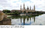 Купить «Cathedral and Ebro river in night. Zaragoza, Aragon», видеоролик № 27059052, снято 14 июля 2017 г. (c) Яков Филимонов / Фотобанк Лори