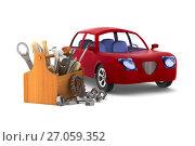 Купить «Car service on white background. Isolated 3D illustration», иллюстрация № 27059352 (c) Ильин Сергей / Фотобанк Лори