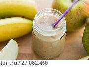 Купить «jar with fruit puree or baby food», фото № 27062460, снято 21 февраля 2017 г. (c) Syda Productions / Фотобанк Лори