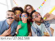 Купить «happy friends or team having fun at office party», фото № 27062588, снято 3 сентября 2017 г. (c) Syda Productions / Фотобанк Лори