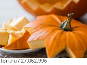 Купить «close up of jack-o-lantern or halloween pumpkin», фото № 27062996, снято 15 сентября 2017 г. (c) Syda Productions / Фотобанк Лори