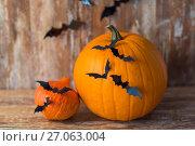 Купить «pumpkins with bats or halloween party decorations», фото № 27063004, снято 18 сентября 2017 г. (c) Syda Productions / Фотобанк Лори