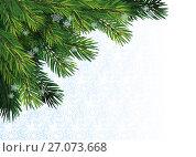 Еловые ветки и снежинки с местом под текст и изображение, эксклюзивная иллюстрация № 27073668 (c) Александр Павлов / Фотобанк Лори