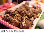Купить «chocolate cookies with peanuts», фото № 27083608, снято 1 декабря 2016 г. (c) Syda Productions / Фотобанк Лори