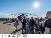 Купить «Zhukovsky, Russia - July 24. 2017. Russian heavy multipurpose transport helicopter Mi 26 at international aerospace show MAKS 2017», фото № 27084036, снято 22 июля 2017 г. (c) Володина Ольга / Фотобанк Лори
