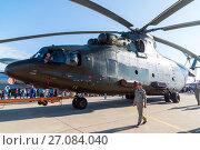 Купить «Zhukovsky, Russia - July 24. 2017. Russian heavy multipurpose transport helicopter Mi 26 at international aerospace show MAKS 2017», фото № 27084040, снято 22 июля 2017 г. (c) Володина Ольга / Фотобанк Лори