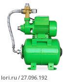 Купить «Green electric high pressure water pump», фото № 27096192, снято 20 сентября 2012 г. (c) Антон Стариков / Фотобанк Лори