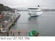 Купить «Круизный морской паром Viking Cinderella подходит к пассажирскому терминалу сумрачным туманным днем. Стокгольм, Швеция», фото № 27101156, снято 29 августа 2016 г. (c) Виктор Карасев / Фотобанк Лори