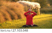 Купить «Woman do yoga on the grass», видеоролик № 27103048, снято 13 октября 2017 г. (c) Илья Шаматура / Фотобанк Лори