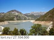 Купить «A view of Emosson lake in Switzerland», фото № 27104000, снято 4 июля 2017 г. (c) Юлия Кузнецова / Фотобанк Лори