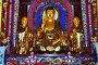 Скульптура золотого Будды в храме Чхун Лин Сы (Чжунлин)  в единственном в мире монастыре в кратере вулкана. Удалянчи, Китай, фото № 27104808, снято 15 октября 2017 г. (c) Овчинникова Ирина / Фотобанк Лори