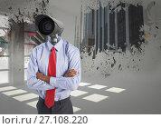 Купить «Businessman with CCTV head at office in the city», фото № 27108220, снято 17 марта 2018 г. (c) Wavebreak Media / Фотобанк Лори
