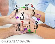 Купить «Doodle of connected people icons against images of peoples hands together», фото № 27109696, снято 19 октября 2018 г. (c) Wavebreak Media / Фотобанк Лори