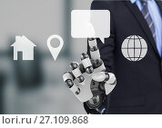 Купить «bionic hand pointing at contact icon interface», фото № 27109868, снято 31 января 2020 г. (c) Wavebreak Media / Фотобанк Лори