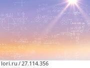 Купить «Composite image of formulas on black background», фото № 27114356, снято 22 июля 2019 г. (c) Wavebreak Media / Фотобанк Лори