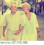 Купить «loving mature spouses enjoying walk», фото № 27115188, снято 27 августа 2017 г. (c) Яков Филимонов / Фотобанк Лори