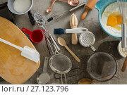 Купить «Gingerbread cookies ingredients with various utensils on table», фото № 27123796, снято 5 мая 2017 г. (c) Wavebreak Media / Фотобанк Лори