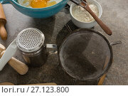 Купить «Gingerbread cookies ingredients with various utensils on table», фото № 27123800, снято 5 мая 2017 г. (c) Wavebreak Media / Фотобанк Лори
