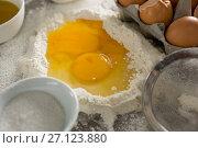 Купить «Egg yolk mixed with flour», фото № 27123880, снято 5 мая 2017 г. (c) Wavebreak Media / Фотобанк Лори