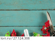 Купить «Handmade christmas trees and craft material on wooden plank», фото № 27124308, снято 8 июня 2017 г. (c) Wavebreak Media / Фотобанк Лори