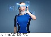 Купить «woman in virtual reality 3d glasses with charts», фото № 27133772, снято 17 ноября 2012 г. (c) Syda Productions / Фотобанк Лори