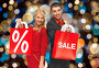 couple with sale and discount sign on shopping bag, фото № 27133900, снято 7 октября 2012 г. (c) Syda Productions / Фотобанк Лори