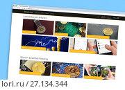 Купить «The Bitcoin website homepage on a monitor screen», фото № 27134344, снято 22 октября 2017 г. (c) FotograFF / Фотобанк Лори