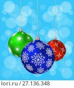 Купить «Three Christmas balls with different patterns», иллюстрация № 27136348 (c) Сергей Лаврентьев / Фотобанк Лори