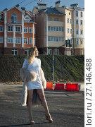 Купить «Fashionable girl on a city landscape», фото № 27146488, снято 9 августа 2017 г. (c) Дмитрий Черевко / Фотобанк Лори