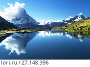 Купить «Reflection of Matterhorn in lake, Zermatt, Switzerland», фото № 27148396, снято 11 сентября 2017 г. (c) Iakov Kalinin / Фотобанк Лори