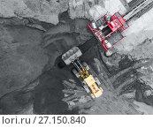 Купить «Open pit mine, breed sorting. Mining coal. Bulldozer sorts coal. Extractive industry, anthracite. Coal industry.», фото № 27150840, снято 26 сентября 2017 г. (c) Сергей Тимофеев / Фотобанк Лори