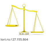 Купить «Balance scale over white background», иллюстрация № 27155864 (c) Кирилл Черезов / Фотобанк Лори