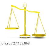 Купить «Balance scale over white background», иллюстрация № 27155868 (c) Кирилл Черезов / Фотобанк Лори