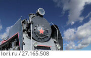 Купить «Ancient steam locomotive, Moscow museum of railway in Russia, Rizhsky railway station (Rizhsky vokzal, Riga station)», видеоролик № 27165508, снято 24 октября 2017 г. (c) Владимир Журавлев / Фотобанк Лори