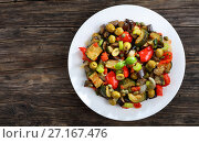 Купить «tasty Caponata with vegetables on plate», фото № 27167476, снято 17 октября 2017 г. (c) Oksana Zh / Фотобанк Лори