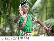 Купить «Young boy performing Gotipua dance, the traditional folk dance of Odisha inspired by Hindu gods, Lords Jagannath and Krishna, Odisha, India, Asia», фото № 27170144, снято 13 января 2017 г. (c) age Fotostock / Фотобанк Лори