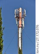 Купить «Вышка сотовой связи», эксклюзивное фото № 27172076, снято 21 сентября 2017 г. (c) Юрий Морозов / Фотобанк Лори