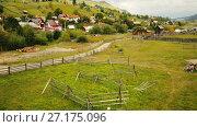 Купить «Image of Sadova village on Bucovina in Romania.», видеоролик № 27175096, снято 6 октября 2017 г. (c) Яков Филимонов / Фотобанк Лори