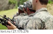 Купить «Group of military soldiers standing with rifles 4k», видеоролик № 27175276, снято 22 мая 2019 г. (c) Wavebreak Media / Фотобанк Лори