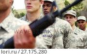 Купить «Group of military soldiers standing with rifles 4k», видеоролик № 27175280, снято 22 мая 2019 г. (c) Wavebreak Media / Фотобанк Лори