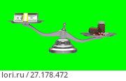 Купить «Medicines and money on scales. Isolated 3D render. Green background», видеоролик № 27178472, снято 6 ноября 2017 г. (c) Ильин Сергей / Фотобанк Лори