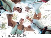 Купить «Happy friends forming huddle», фото № 27182304, снято 9 мая 2017 г. (c) Wavebreak Media / Фотобанк Лори